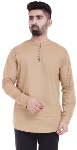 BeigeColor Cotton Men's Solid Shirt - ST374