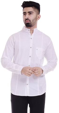 WhiteColor Cotton Men's Solid Shirt - ST377