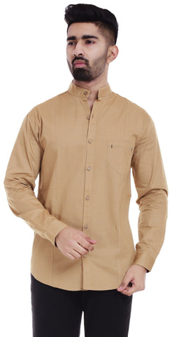 BeigeColor Cotton Men's Solid Shirt - ST379