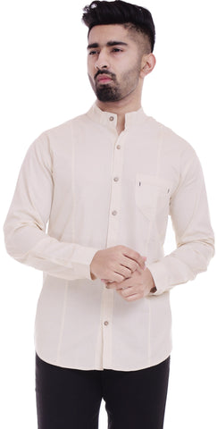 BeigeColor Cotton Men's Solid Shirt - ST382