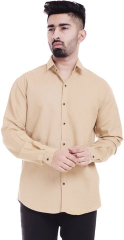 BeigeColor Cotton Men's Solid Shirt - ST385