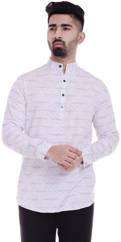 WhiteColor Cotton Men's Printed Shirt - ST389