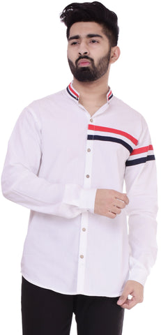 WhiteColor Cotton Men's Solid Shirt - ST390