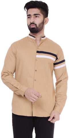 BeigeColor Cotton Men's Solid Shirt - ST394