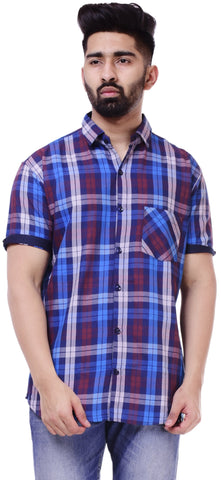 White and Sky BlueColor Cotton Men's Solid Shirt - ST402