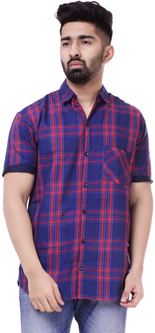 Dark Blue and RedColor Cotton Men's Solid Shirt - ST403