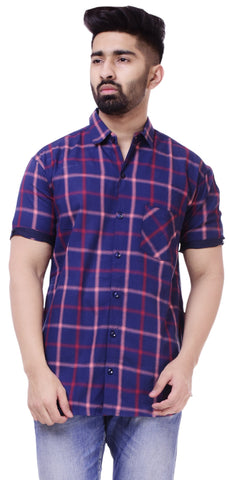 Blue and WhiteColor Cotton Men's Solid Shirt - ST404