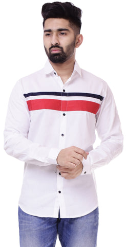 WhiteColor Cotton Men's Solid Shirt - ST408