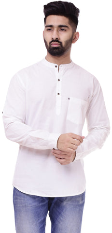 WhiteColor Cotton Men's Solid Shirt - ST411