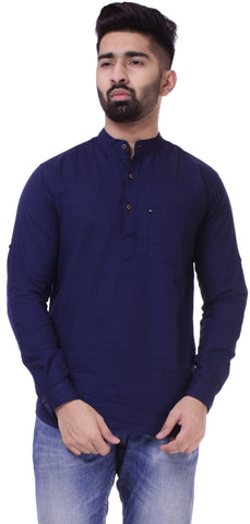 Dark BlueColor Cotton Men's Solid Shirt - ST412