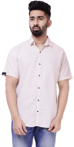 Light BeigeColor Cotton Men's Solid Shirt - ST415