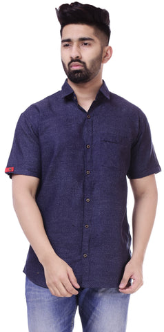 Dark BlueColor Cotton Men's Solid Shirt - ST416