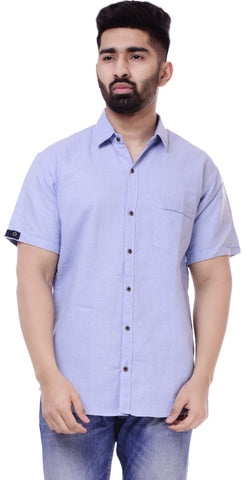 Sky BlueColor Cotton Men's Solid Shirt - ST417