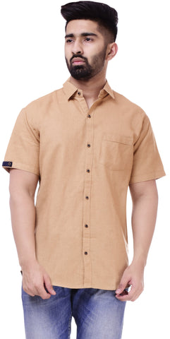 BeigeColor Cotton Men's Solid Shirt - ST418