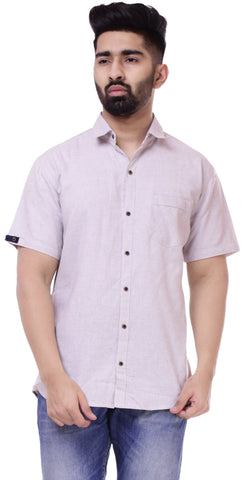 Light GreyColor Cotton Men's Solid Shirt - ST419