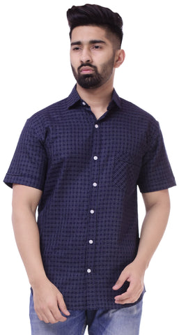 Dark BlueColor Cotton Men's Solid Shirt - ST421
