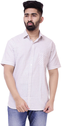 WhiteColor Cotton Men's Solid Shirt - ST422