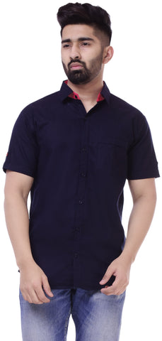 Dark BlueColor Cotton Men's Solid Shirt - ST423