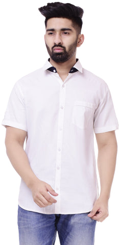 WhiteColor Cotton Men's Solid Shirt - ST425