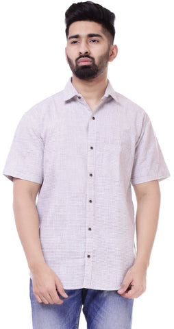 Light BeigeColor Cotton Men's Solid Shirt - ST427
