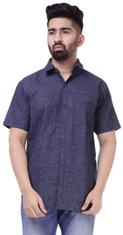 Dark BlueColor Cotton Men's Solid Shirt - ST428