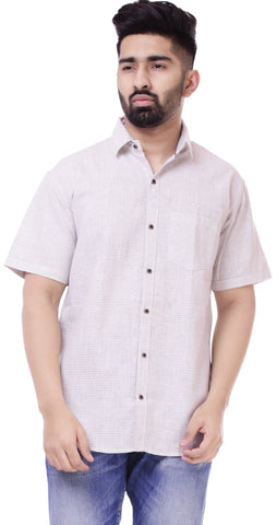 Light GreyColor Cotton Men's Solid Shirt - ST431