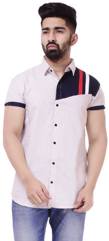 Light BeigeColor Cotton Men's Solid Shirt - ST433