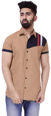 BeigeColor Cotton Men's Solid Shirt - ST436