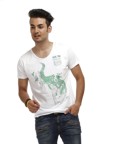 White Color Cotton Men T-Shirt - STF-White