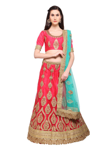 Pink Color Net Semi Stitched Lehenga - STNSYA8408DP