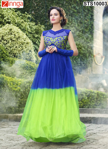 Blue and Green Color Rasal Net Semistitched Salwar - STS10003