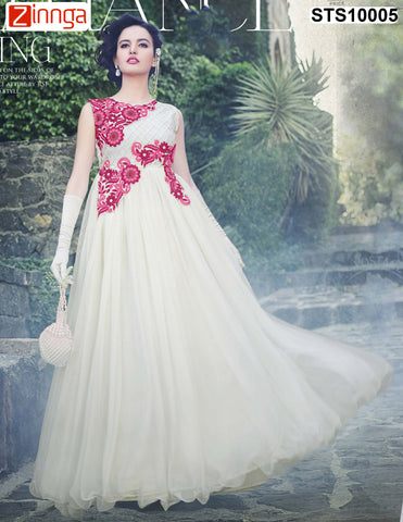 Off White Color Rasal Net Semistitched Salwar - STS10005