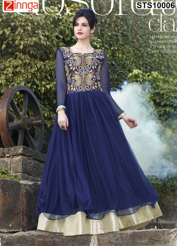 Navy Blue Color Rasal Net Semistitched Salwar - STS10005