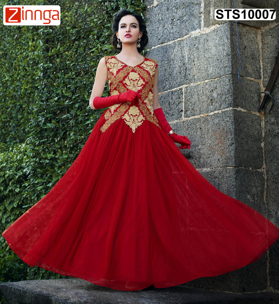 Red Color Rasal Net Semistitched Salwar
