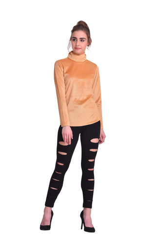 Gold Color ReadyMade Velvet Top - STSF0791