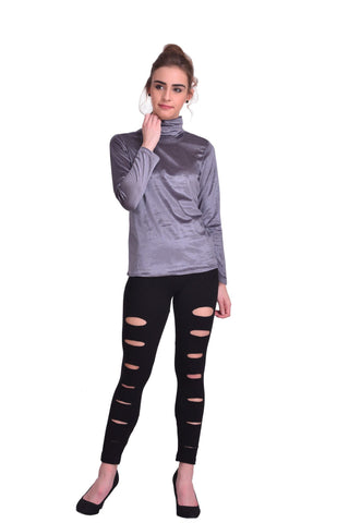 Grey Color ReadyMade Velvet Top - STSF0792