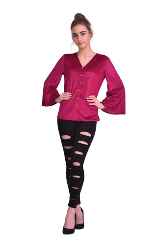 Wine Color ReadyMade Velvet Top - STSF0801
