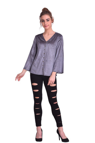 Grey Color ReadyMade Velvet Top - STSF0802