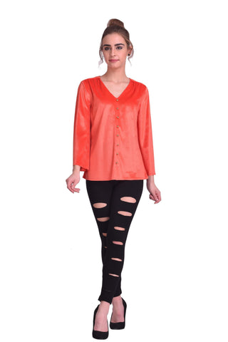 Coral Color ReadyMade Velvet Top - STSF0803