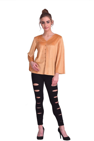 Gold Color ReadyMade Velvet Top - STSF0804