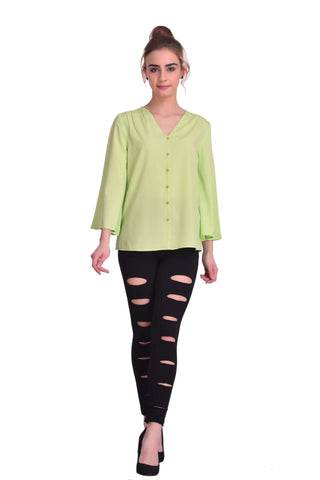 Light Green Color ReadyMade Crepe Top - STSF0805