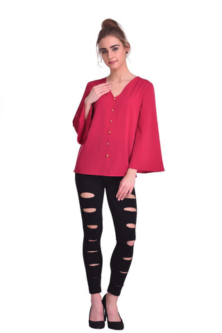 Marsala Color ReadyMade Crepe Top - STSF0806