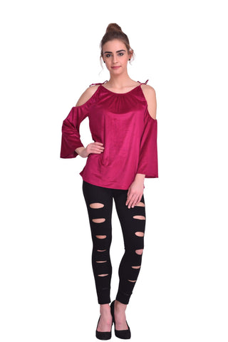 Wine Color ReadyMade Velvet Top - STSF0811