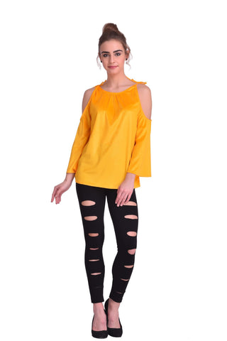 Yellow Color ReadyMade Velvet Top - STSF0812