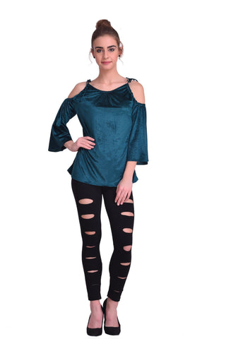 Green Color ReadyMade Velvet Top - STSF0813