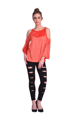 Coral Color ReadyMade Velvet Top - STSF0814