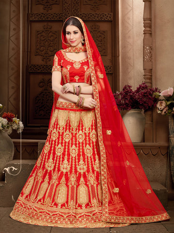 Red  Color Silk A-Line Semi-Stitched Lehenga Choli - STSYRNA24208