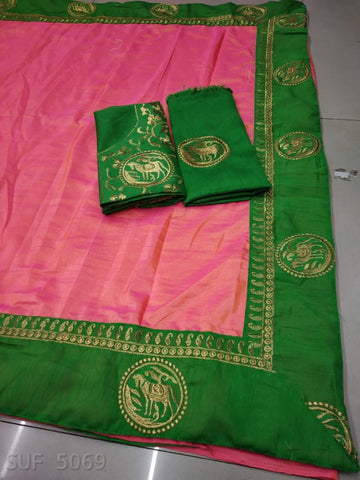 Pink Color Silk Saree - SUF5069-F