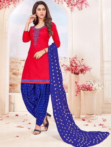 Red Color Glace cotton UnStitched Salwar - SUHAGAN-5001