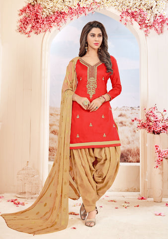 Red Color Glace cotton UnStitched Salwar - SUHAGAN-5003